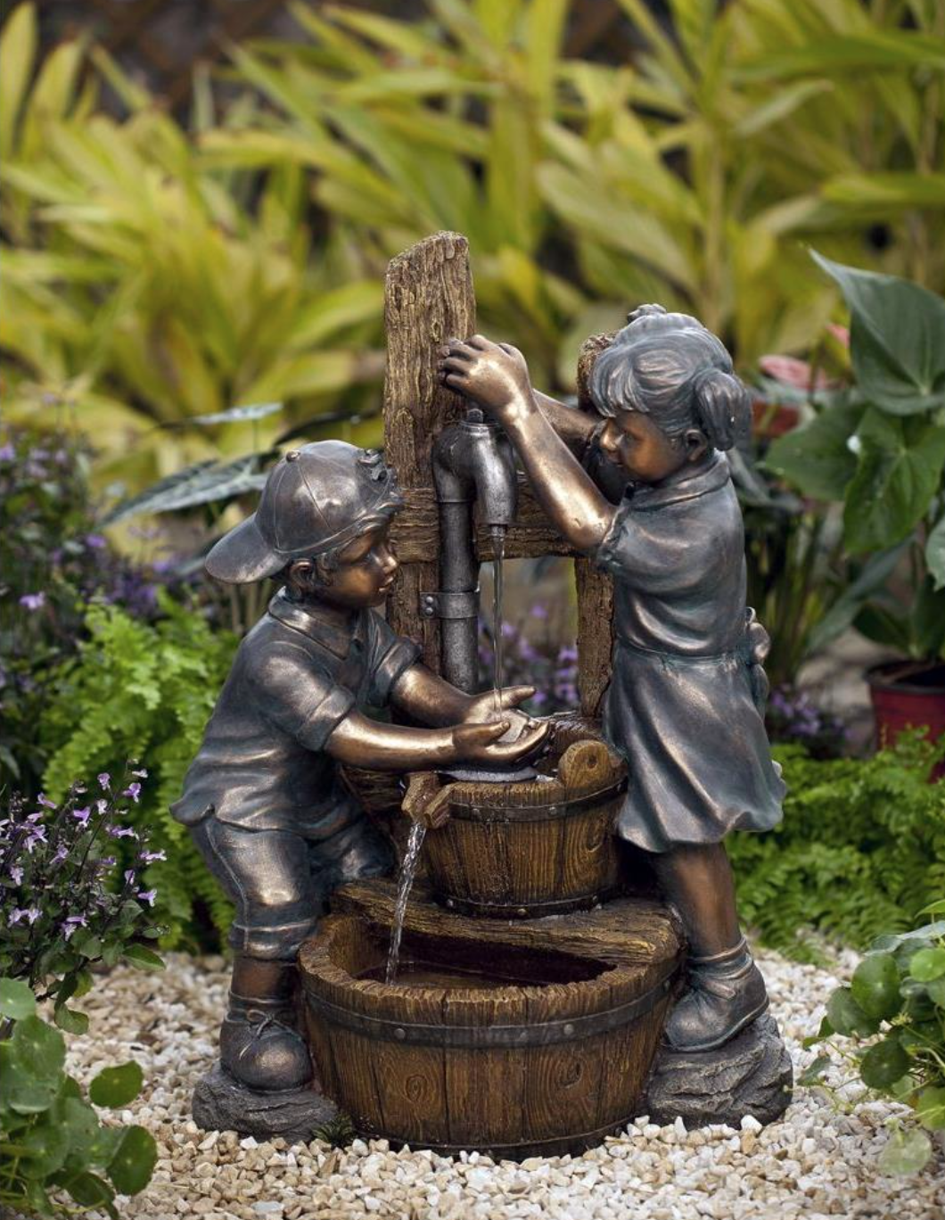 Bring This Cute Pump And Kids Water Fountain To Your Garden Or Yard Water Pours From Sprout Into Wood Basin And One Boy Water Fountain Kids Playing Cute Pumps