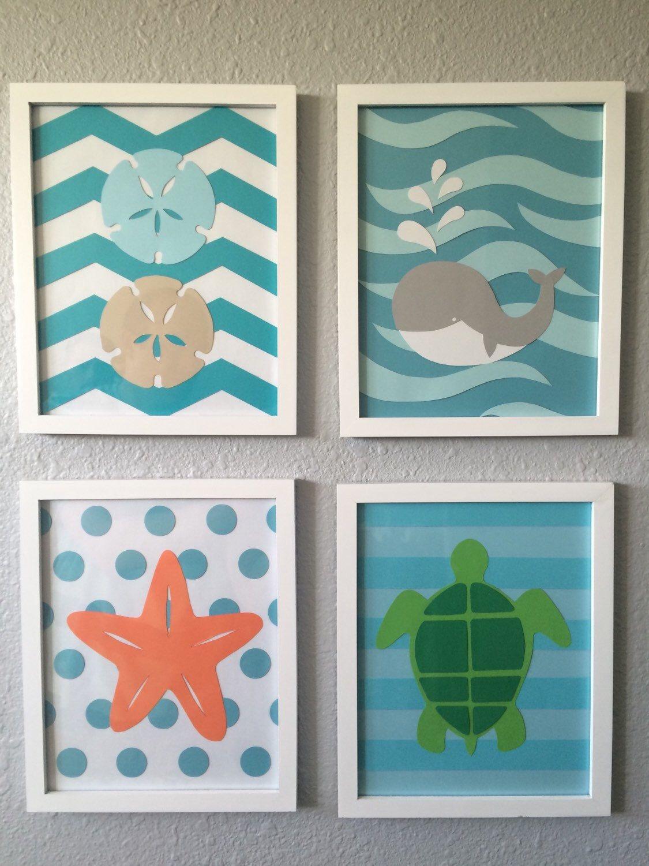 Sophisticated Modern Nautical Nursery: Sea Nursery Art Beach Themed Framed Set Of 4 8x10 Handmade