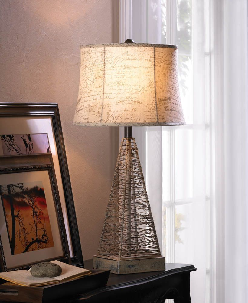 medium resolution of modern art sculpture wire pyramid frame bedside end table lamp night light shade genericikeastyle contemporary