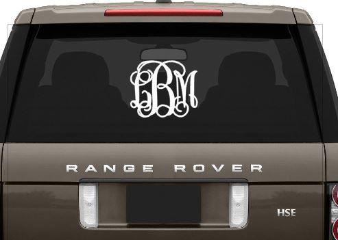 vine monogram car window decal monogram initials decal vinyl decal