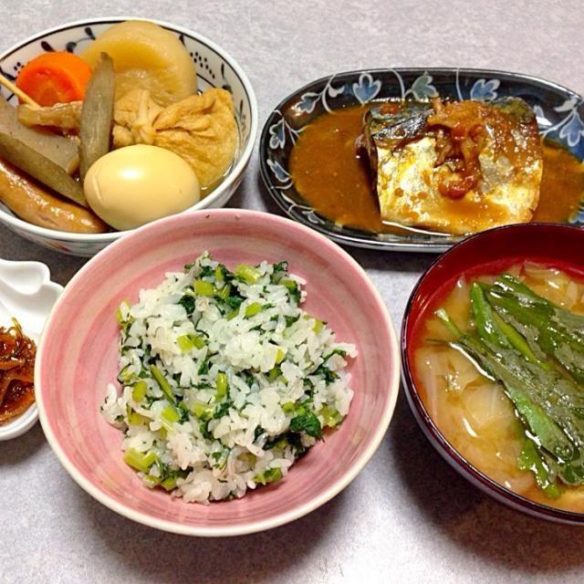 サバの味噌煮、 おでん、 キャベツたっぷりの味噌汁、 いただき物の松前漬け、 菜飯 です。 - 27件のもぐもぐ - 和食な晩ご飯 by Orie Ueki