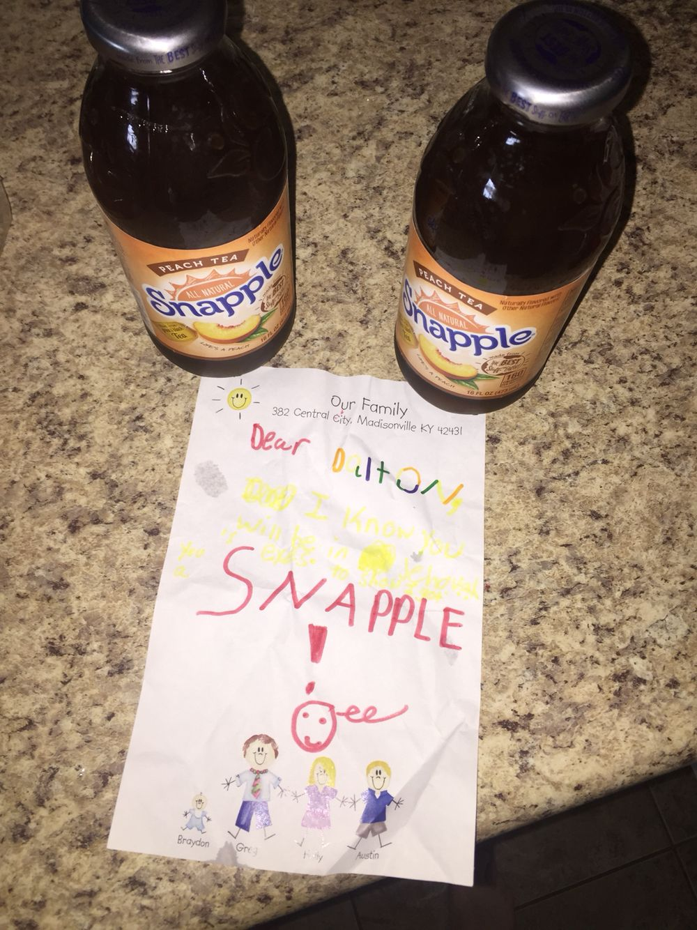 """It was pretty good. Brayden got me two snapples and wrote me this note. It says, """"I know you will be in Jehovah's eyes. To show you, here's a snapple.""""  I love'em. I love Brayden. Haha. My mom put a really long scripture on my cake and I felt weird about that and my mom also asked a guy to play some music and he took it way too seriously and literally set up a stage. It took him three days to set it up and we had to help him take it all down. That was really annoying. Haha. My family came…"""