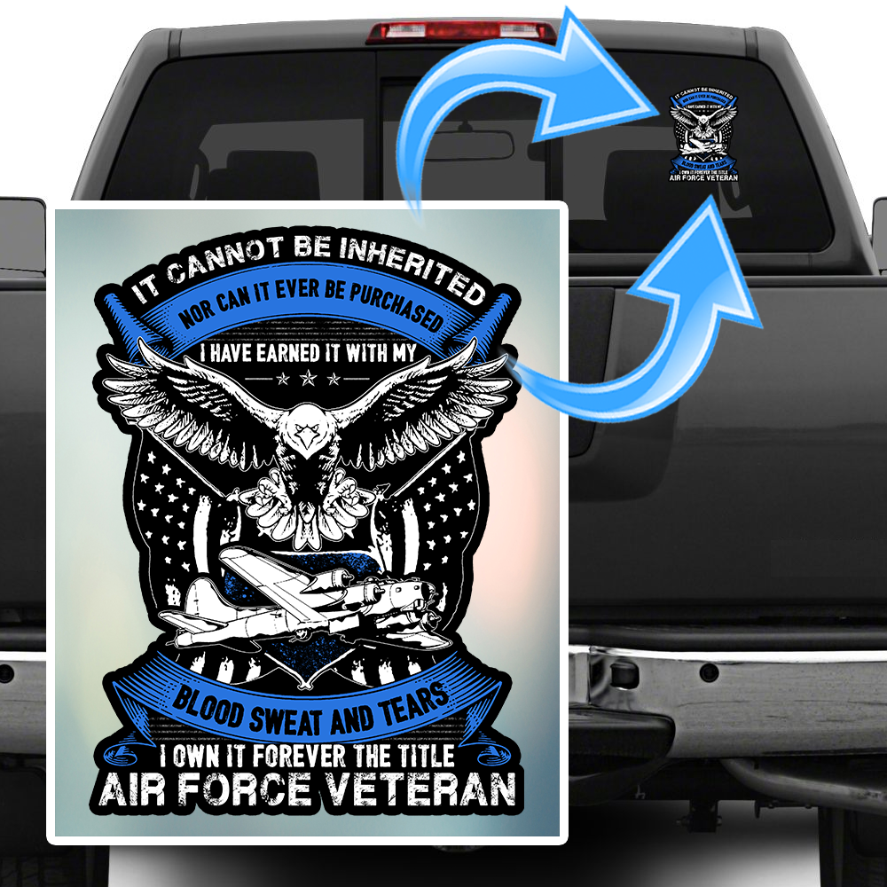 "Air Force Veteran Decal 3"", 5"", 7"", 10"" inch with FREE"