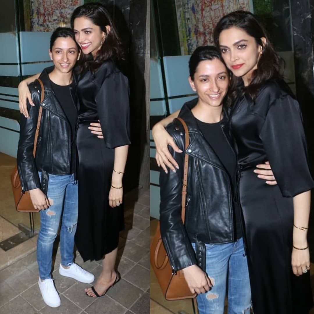 Deepika And Her Sister Anisha Padukone Twin In Black As They Turn Up For Rohini Iyer S Birthday Party Hungryboo Online Shopping Sarees Fashion Outfits Denim Outfit
