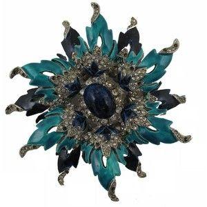 Preowned Kenneth Jay Lane Kjl Vintage Silver Metal Rhinestones Enamel Flower Pin Brooch