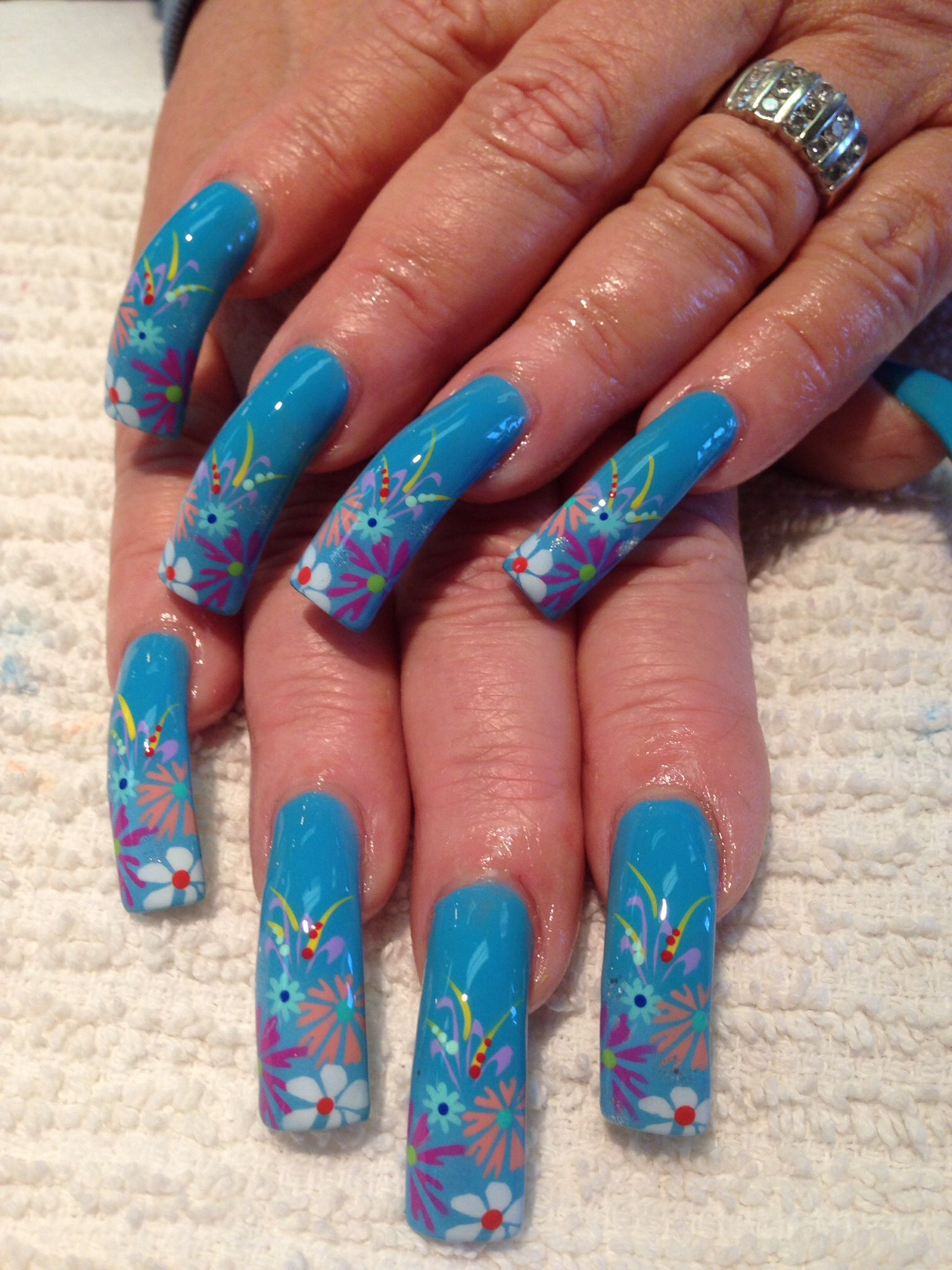 Summer Blue Airbrush Nails Airbrush Nail Art Airbrush Nails