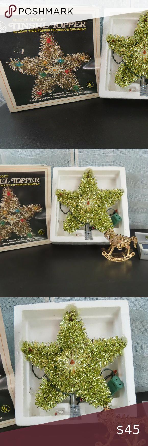 Vintage Merry Midget Tinsel Star Tree TopperNIB NIBthis