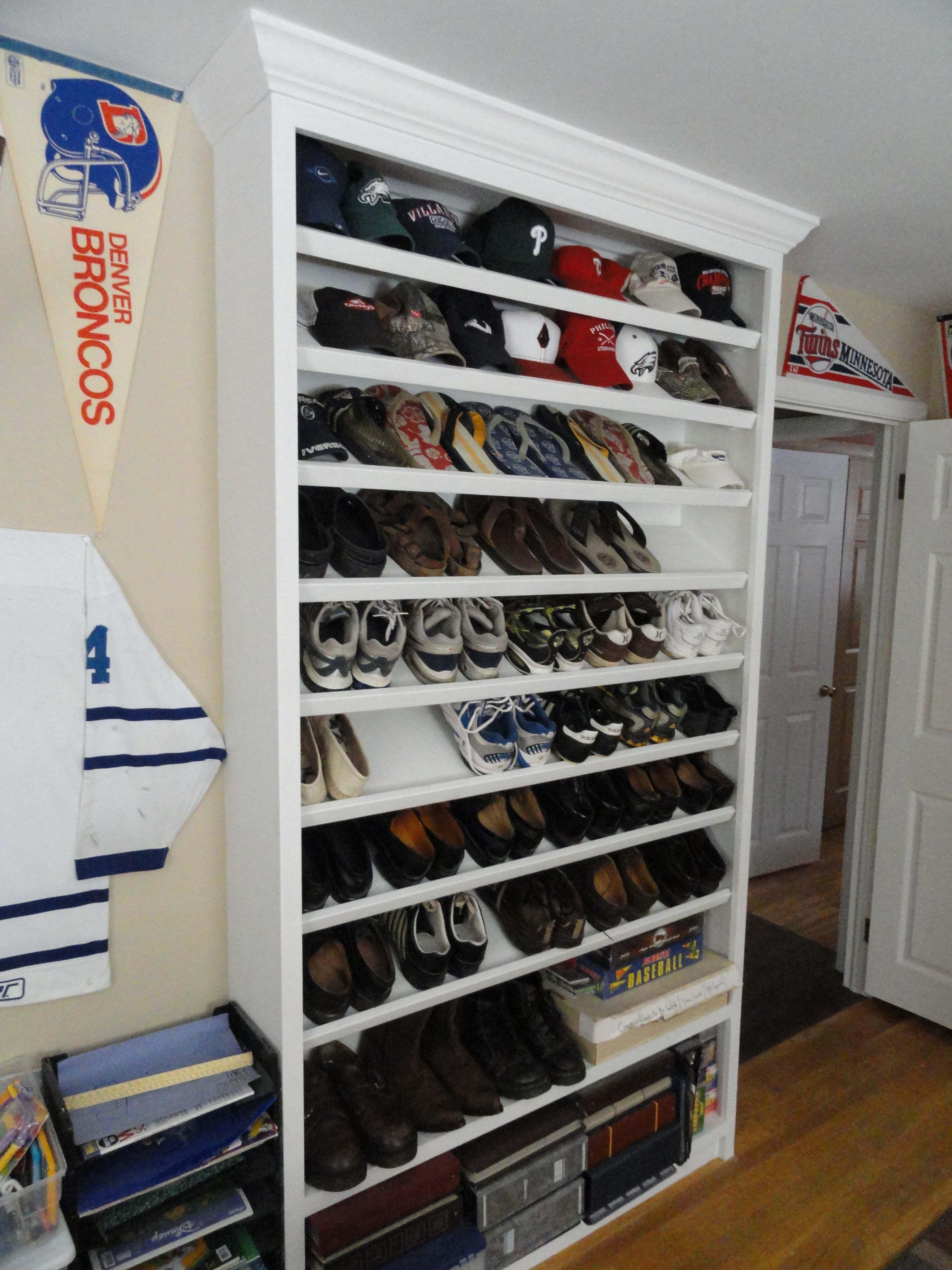 Custom builtin shoe rack recycled dresser shoe rack