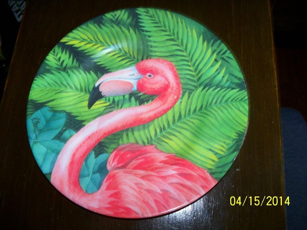 Sakura FLAMINGO Salad or Dessert Plate Pink Bird Evolution Melamine Hard Plastic