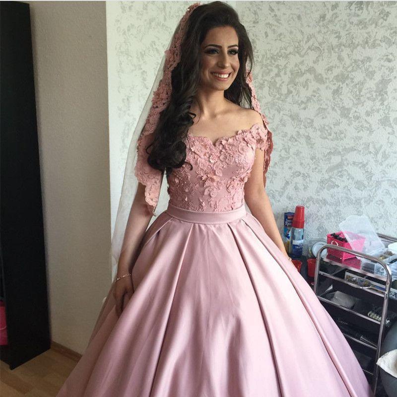Light Pink Satin Off Shoulder Ball Gown Wedding Dresses Lace Appliques