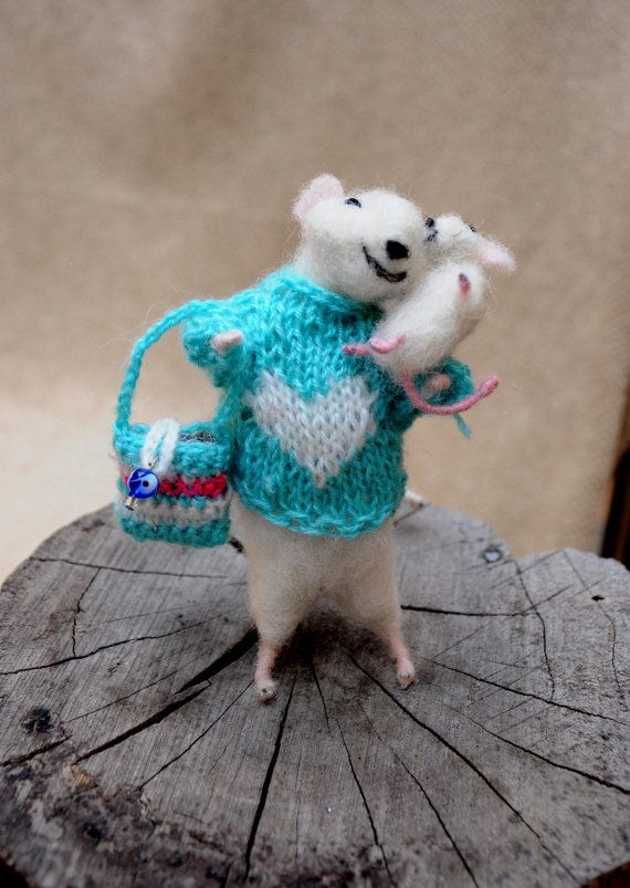Felt mouse Lady mouse and her baby Cute couple by