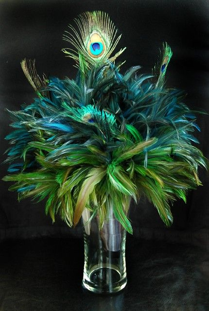 peacock feather centerpiece