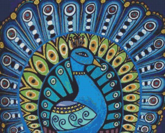 Modern Cross Stitch Kit By Heather Galler ' Blue by GeckoRouge, $81.00