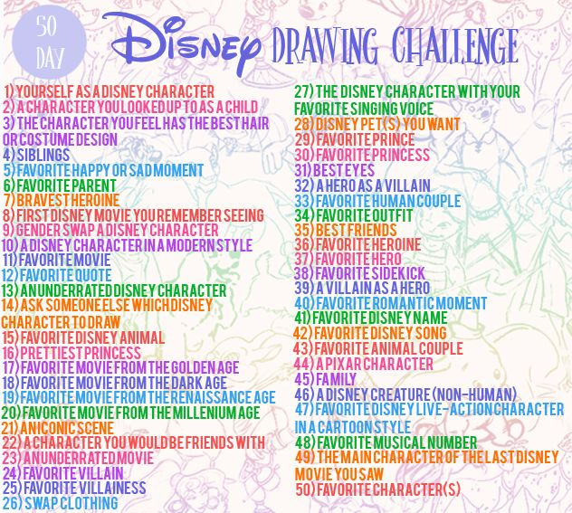 50 Day Disney Drawing Challenge Hello There This Is My Own Personal 50 Day Disney Dra Disney Drawing Challenge Creative Drawing Prompts Disney Art Drawings