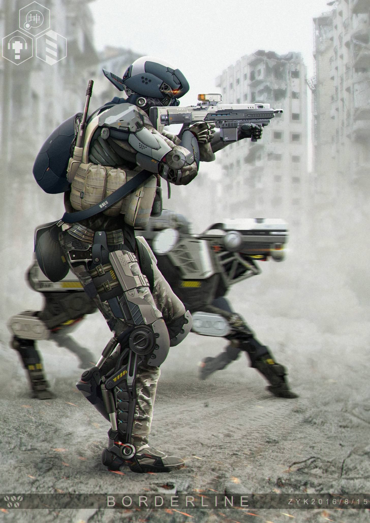 Обои амуниция, солдат, киборг, Фантастика, автомат. Фантастика foto 18