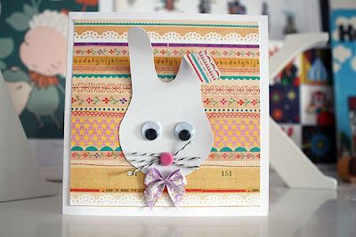 Bunny card from a hand print