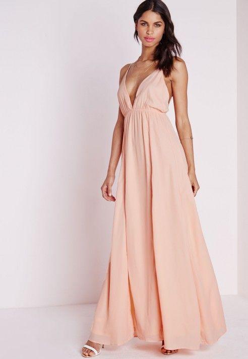 Chiffon Plunge Maxi Dress Nude - Dresses - Maxi Dresses - Missguided ...