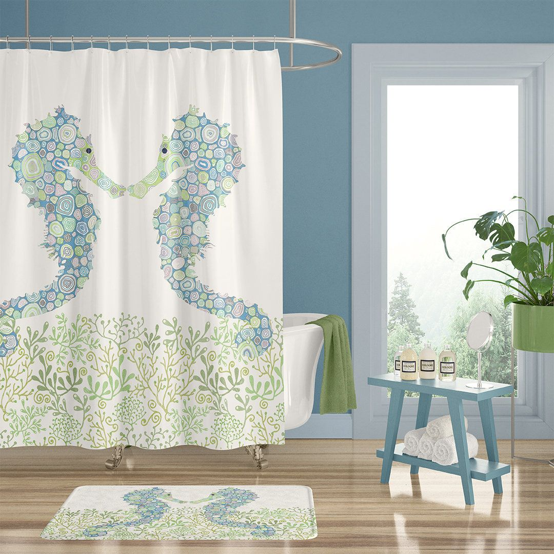 Kids Shower Curtain Bath Mat And Bath Towel Set With Seahorse Gender Neutral Extra Long Shower Curtains Blue And Green Bathroom Decor In 2020 Green Bathroom Decor Kids Shower Curtain Green Bathroom