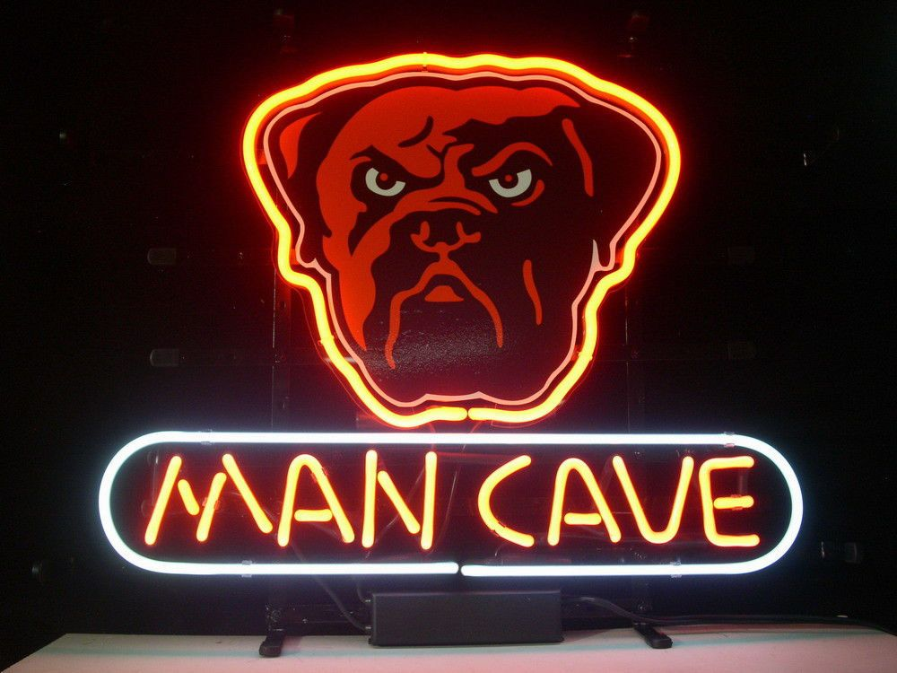 New cleveland browns dog dawg pound man cave real glass neon light ...
