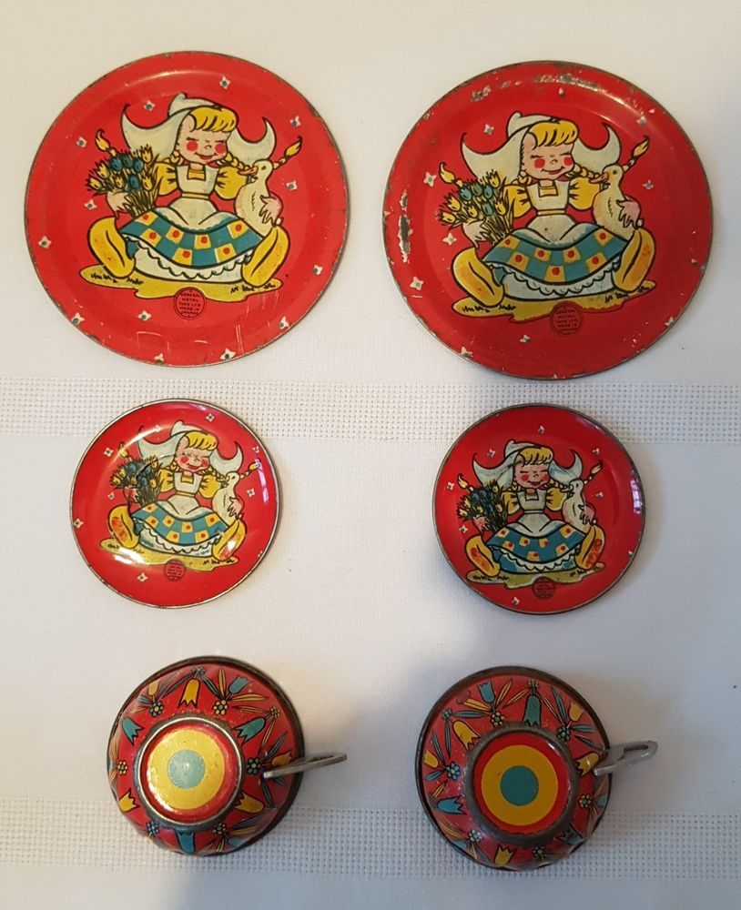 VINTAGE SMALL TIN PLATES AND CUPS SET GENERAL METAL TOYS CANADA : antique tin plates - pezcame.com