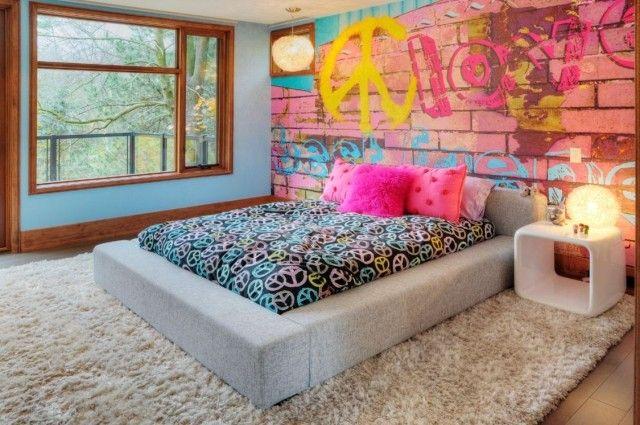 Jugendzimmer Gestalten Ideen Wand Fototapete Hippi Motto Bunt