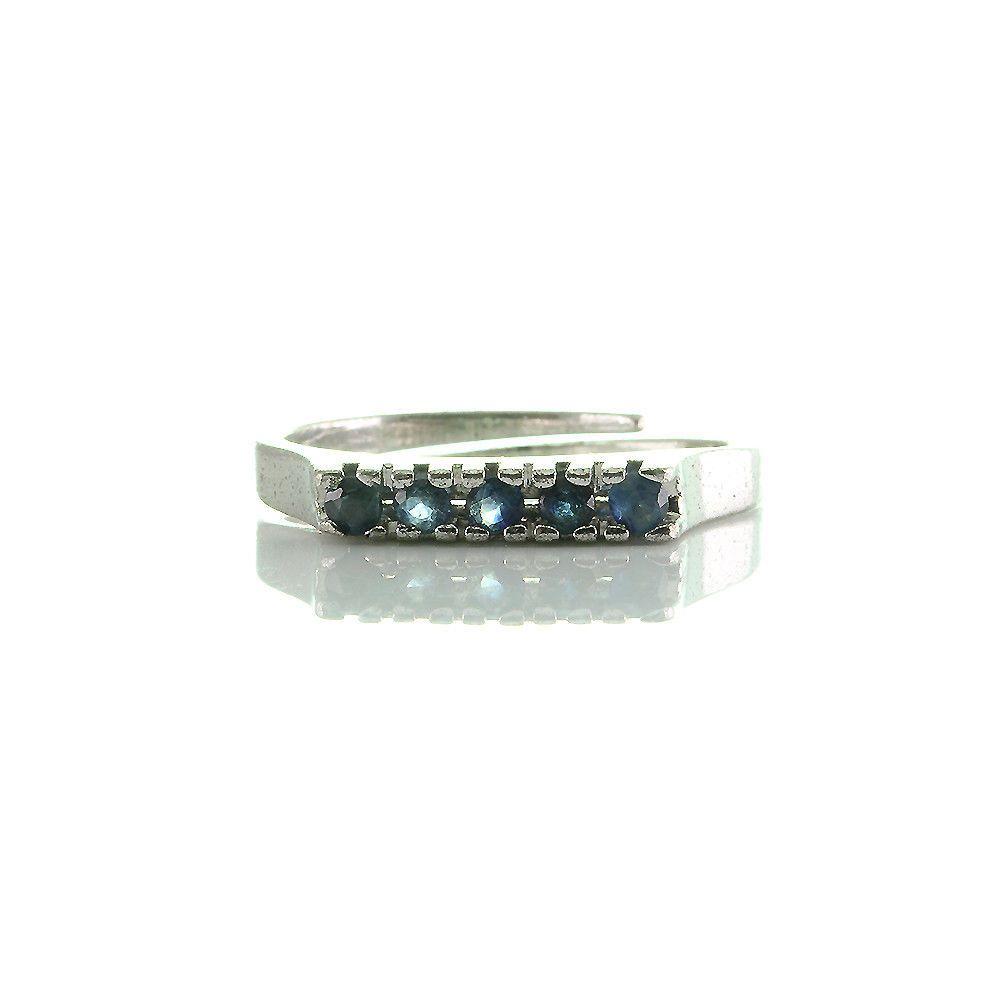 Vorsteck Ring Verstellbar Silber 835 Rhodniert Mit 5 Saphiren