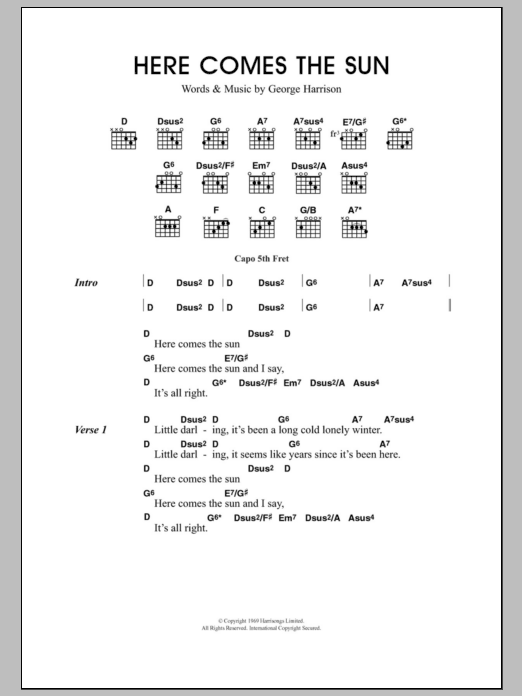 Here Comes The Sun Guitar Chords Lyrics Sheet Music Download