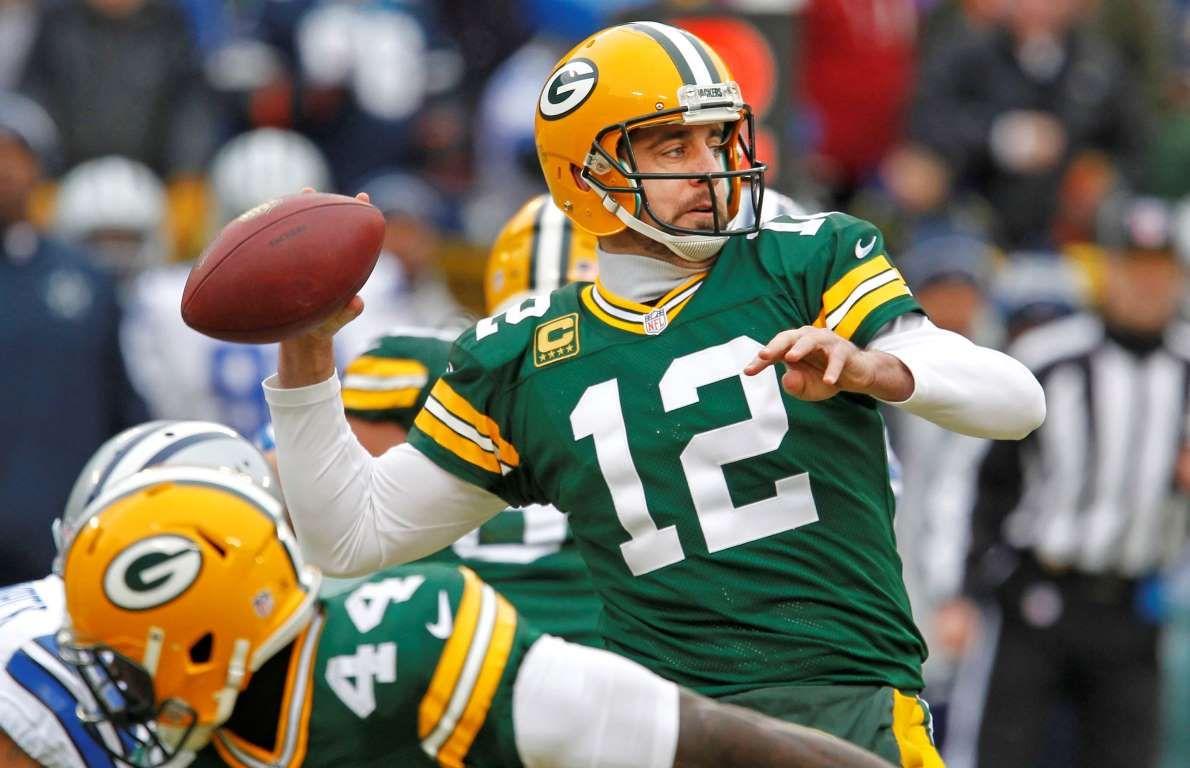 Green Bay Packers Quarterback Aaron Rodgers Throws A Pass Matt