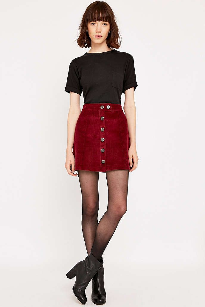 Urban Renewal Vintage Remnants Burgundy Cord A Line Skirt - Urban ...