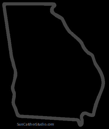 Georgia Map Outline Printable State Shape Stencil Pattern Georgia Map Map Outline Georgia Outline