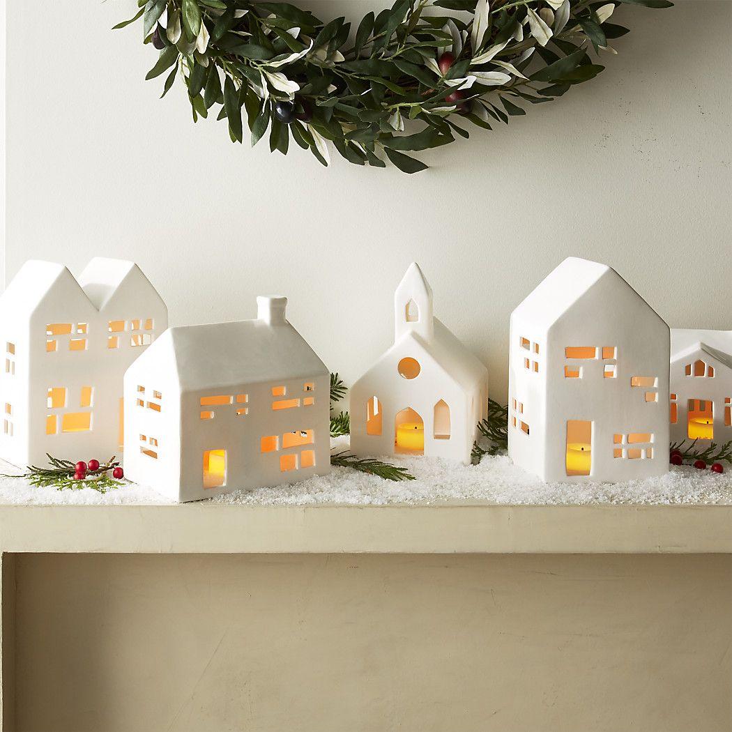 White Ceramic Christmas Village Houses - CHRISMASIH