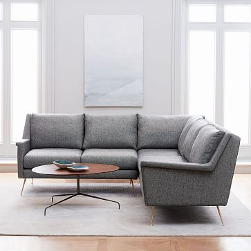 Carlo Mid Century 3 Piece L Shaped Sectional Mid Century Modern