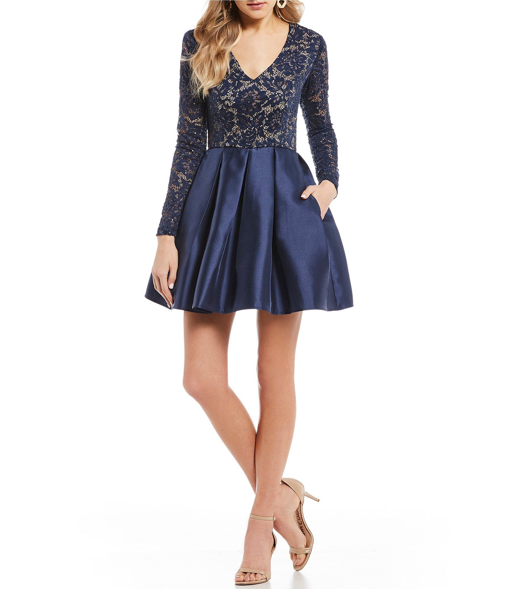 Shop For Teeze Me Sequin Lace With Satin Fit And Flare