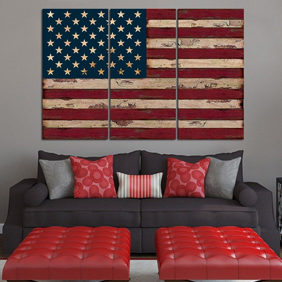 American Flag 3 Piece Wall Set On Canvas American Flag Wall Art American Flag Wall Decor Usa Decor