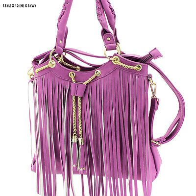 WESTERN FRINGE HANDBAG PURSE CONCEALED WEAPON CROSSBODY MESSENGER BAG PURPLE