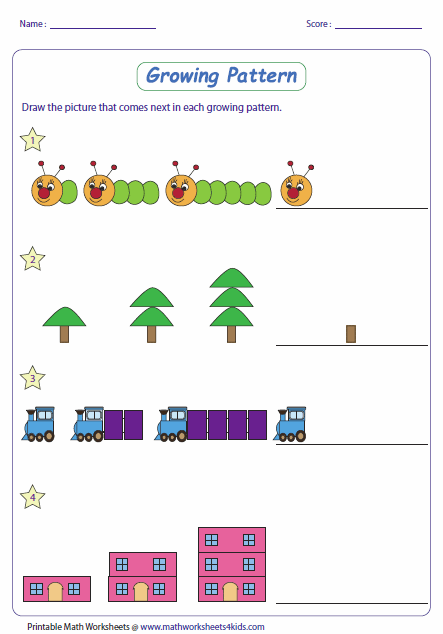 Math pattern worksheets with different levels for ages K-8