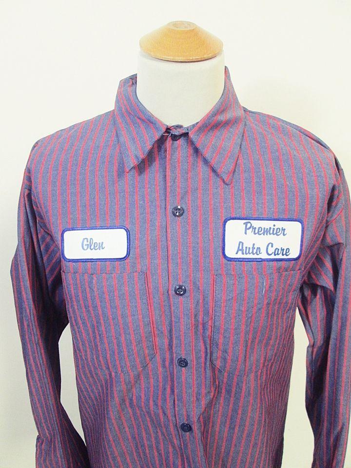 cb1163eaf755 Vintage 90s Glen Auto Salesman Rockabilly American Garage Work Shirt ...