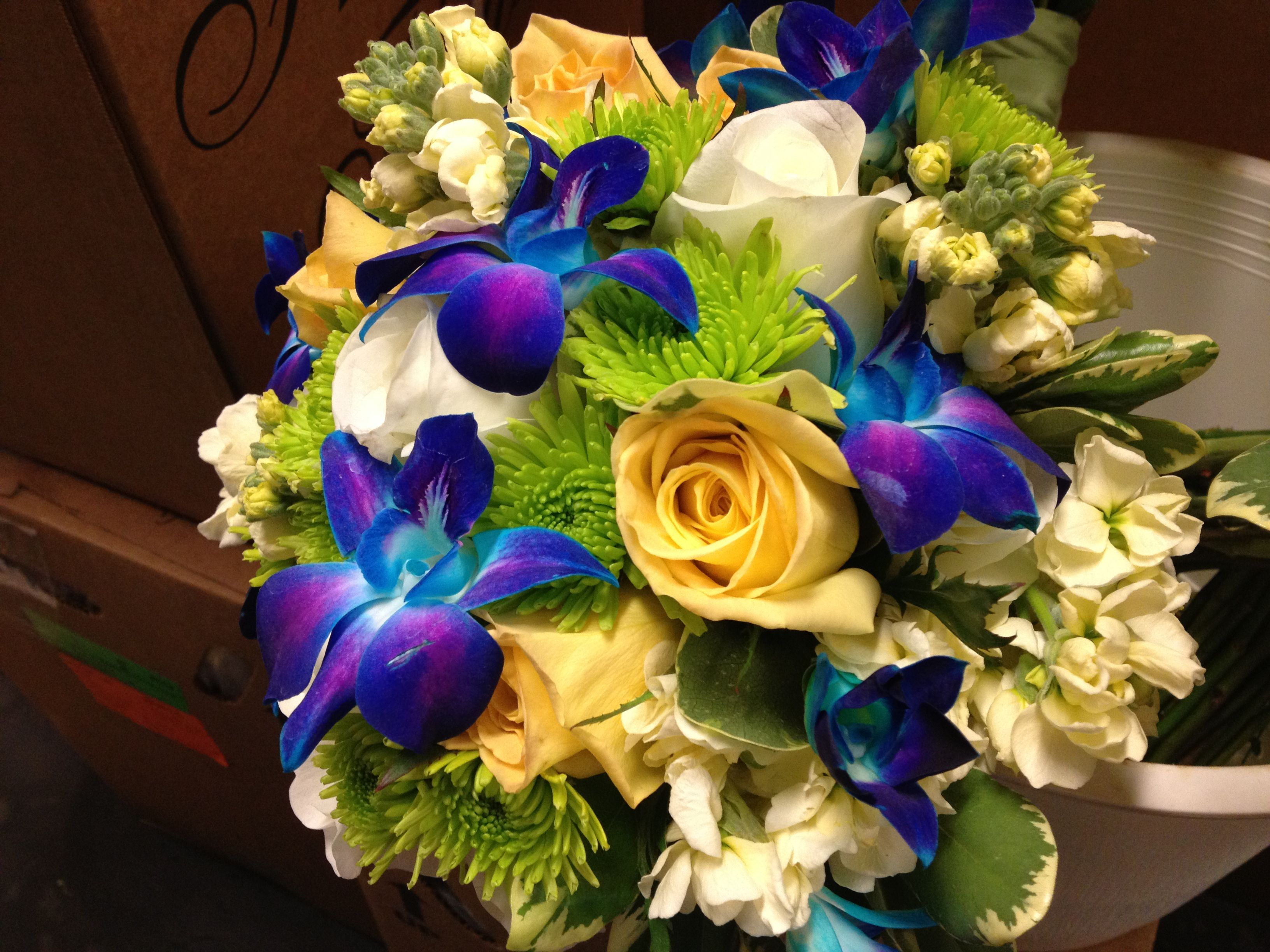 Blue bom orchids yellow roses and green pomps yellow bouquets blue bom orchids yellow roses and green pomps izmirmasajfo