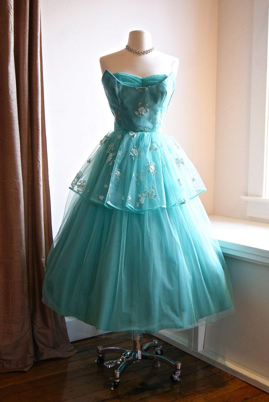 Vintage 1950s Emma Domb Strapless Tulle Prom Dress in Sea Foam Waist ...