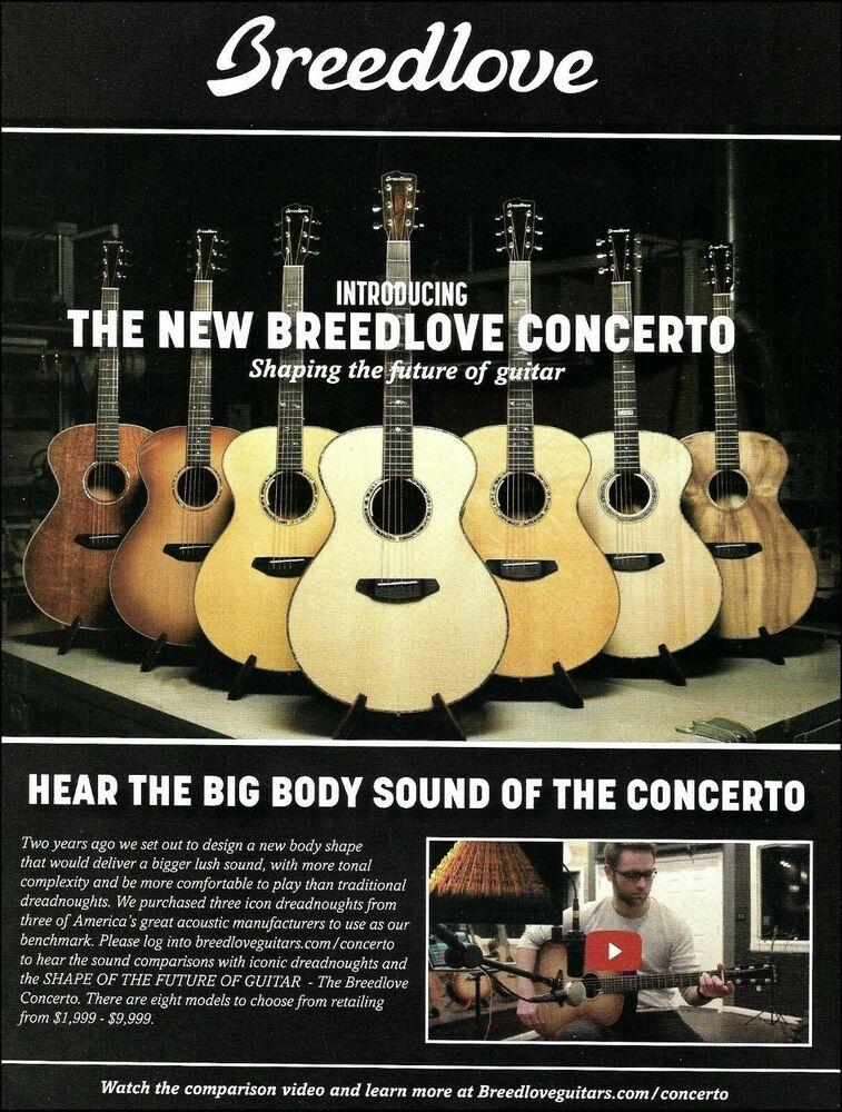 Breedlove 2017 Concerto Series Acoustic Guitar Advertisement 8 X 11 Ad Print Breedlove Acoustic Guitar Guitar Magazine Guitar