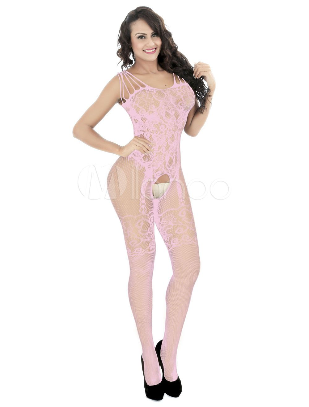 f3339a78c02 White Lace Bodystocking Women Crotchless Strappy Sexy Hosiery  Bodystocking