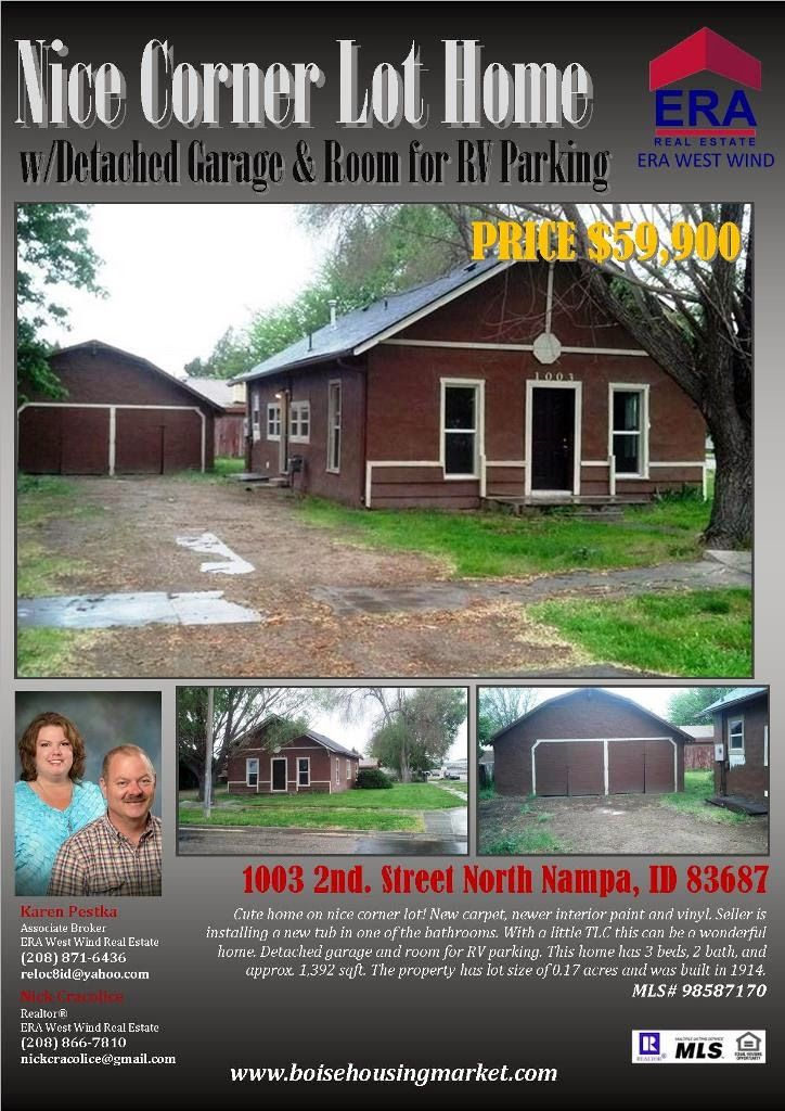 SOLD! Corner Lot Home w/Detached Garage & Room for RV ...