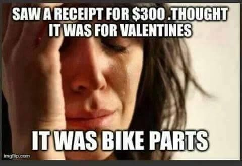 Saw A Receipt For 300 Thought It Was For Valentine S Day It Was Bike Parts Loveiscycling First World Problems Meme Problem Meme First World Problems