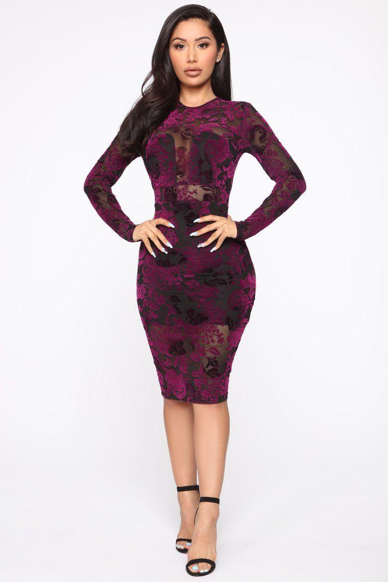 Flirtatious Feelings Velvet Midi Dress Black/Purple