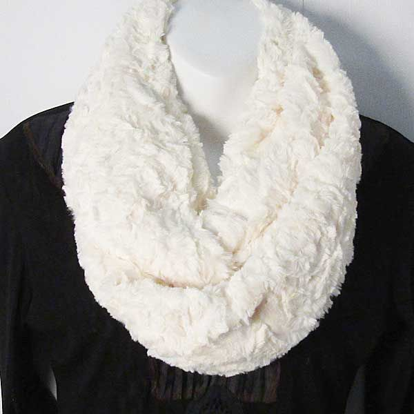 Tigerstars l $21.99 Soft White Faux Fur Sequin Infinity Double Loop Scarf
