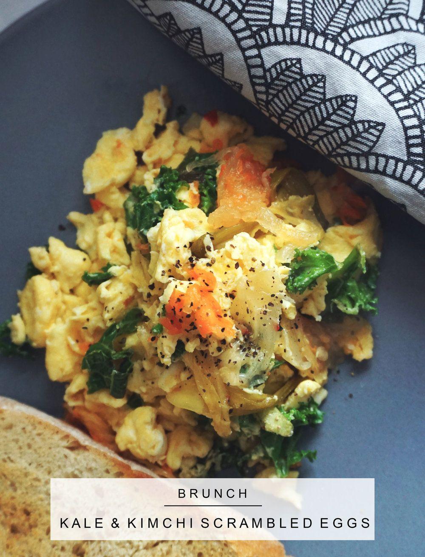 Kale and Kimchi Scrambled Eggs