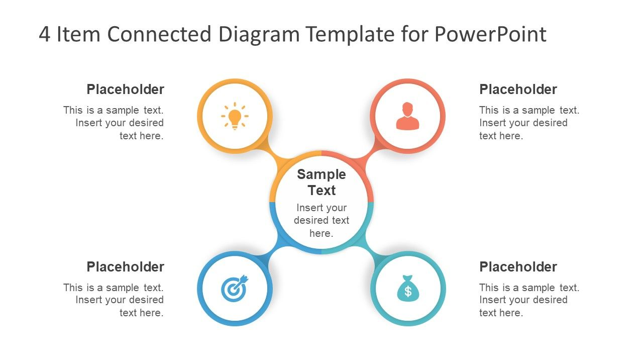 4 Item Connected Diagram Template For Powerpoint Slidemodel Powerpoint Templates Powerpoint Powerpoint Slide Designs