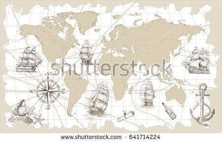 Hand drawn vector world map with compass anchor and sailing ships hand drawn vector world map with compass anchor and sailing ships in vintage style perfect for textiles wallpaper and prints gumiabroncs Images
