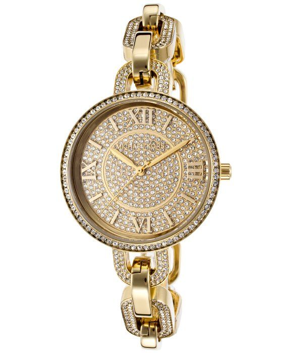 Michael Kors Women's Delaney Gold-Tone Steel and Dial Crystal Accents 195$