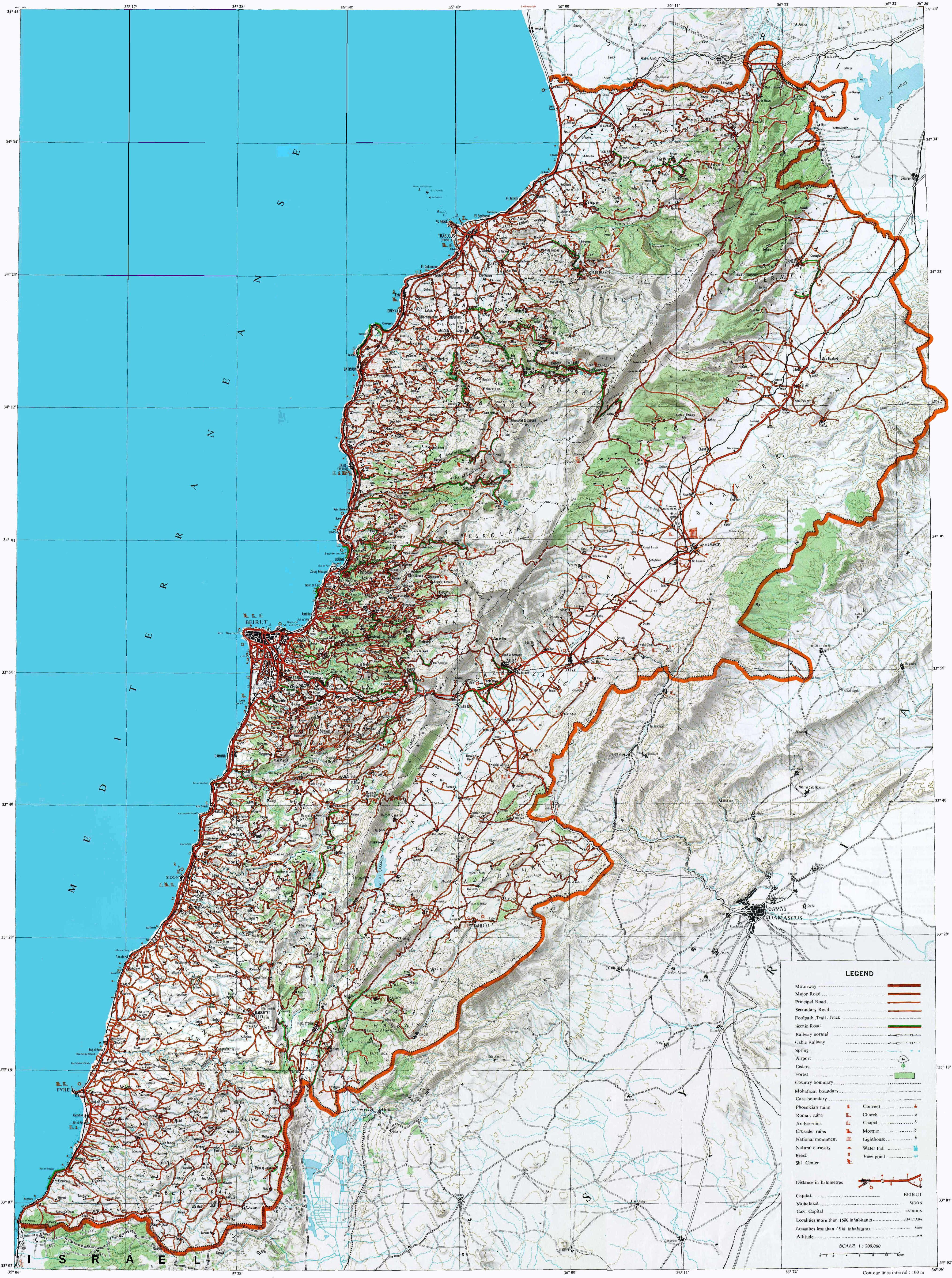 Topographical Map Of Lebanon With Roads Topographic Map Map Aerial